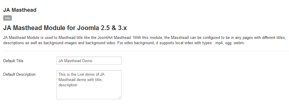 JA Masthead Joomla extension documentation